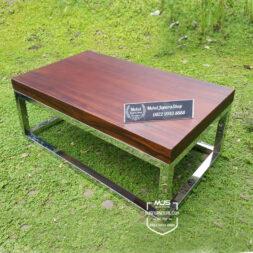 coffee table kayu trembesi kaki stainless