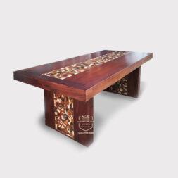 meja trembesi koin kombinasi kayu sonokeling