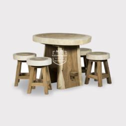 meja trembesi bundar kayu trembesi