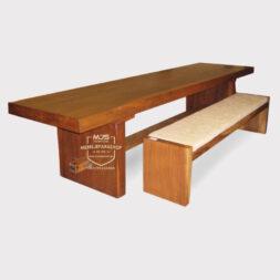 meja bangku kayu trembesi solid