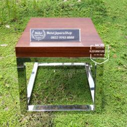 side table kayu trembesi minimalis kaki stainless
