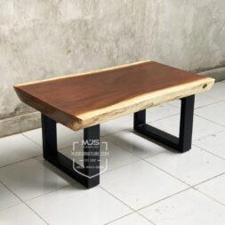 coffee table kayu solid trembesi kaki besi