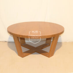 coffee table minimalis bundar kayu jati