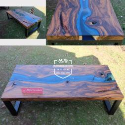 coffee table river flow antik kayu erosi solid