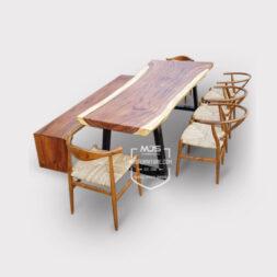 meja makan kayu trembesi natural modern
