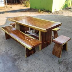 meja makan trembesi set lengkap