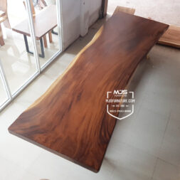 meja meeting kayu trembesi besar panjang 5m
