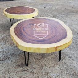 meja trembesi bundar coffee table natural alami