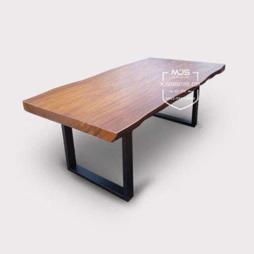 meja trembesi kayu utuh natural kaki besi modern