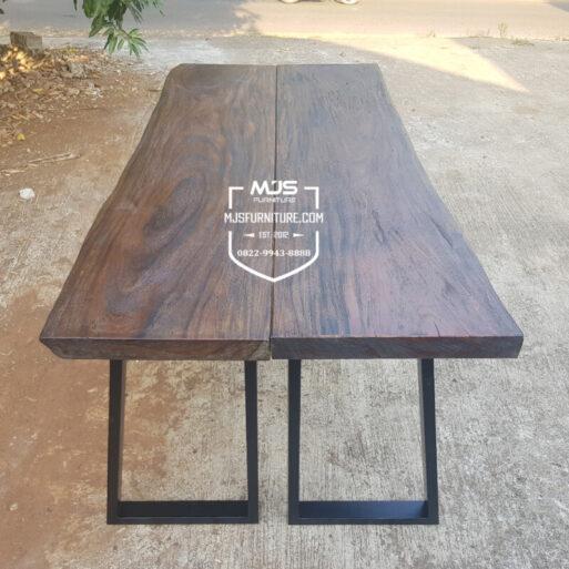 meja bar kayu trembesi rustik