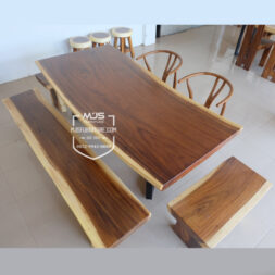 jual meja trembesi kayu solid utuh
