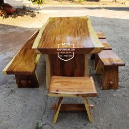 meja makan kayu trembesi set lengkap