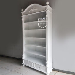 rak buku classic minimalis putih