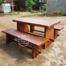 meja kayu solid trembesi finishing doff
