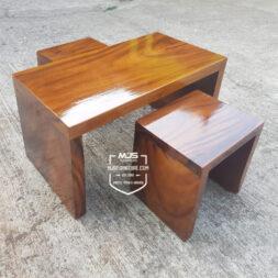 Set meja kursi cafe simple kayu solid