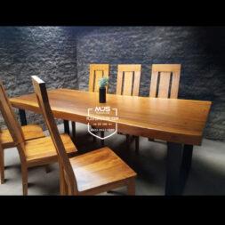 set meja makan trembesi suar kaki besi