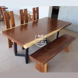 set meja makan kayu solid trembesi murah
