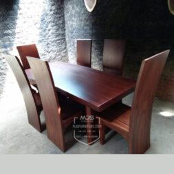 set meja makan kayu trembesi solid