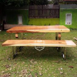 set meja kayu utuh trembesi kaki stainless