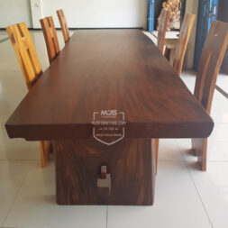 set meja trembesi kayu panjang 3 m