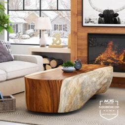 coffee table kayu solid suar trembesi
