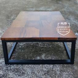 coffee table kotak kotak kayu trembesi unik kaki besi