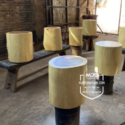 kursi stool log potongan kayu solid utuh
