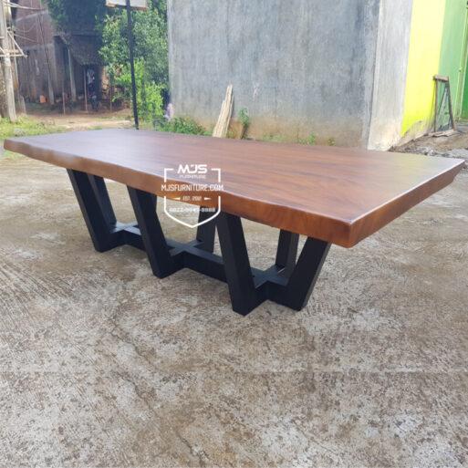 meja meeting kayu trembesi solid besar