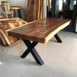 meja trembesi besar kaki silang