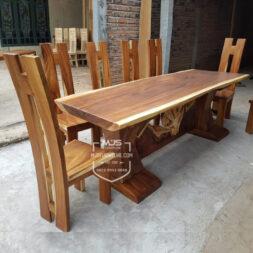 set meja kayu trembesi suar kaki balok