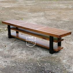 Bangku kayu trembesi minimalis garis