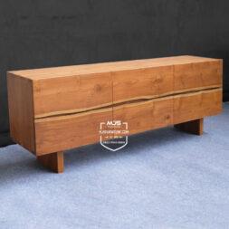 cabinet jati solid minimalis natural modern