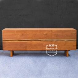 cabinet tv kayu jati minimalis natural modern