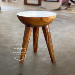kursi stool unik antik setengah bola kayu solid