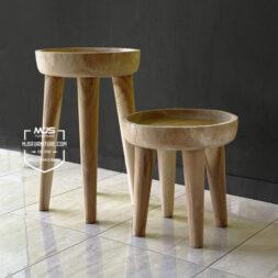 stool bundar bowl mangkok kayu suar