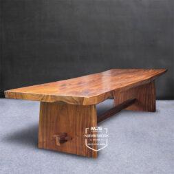 meja meeting kayu trembesi solid utuh