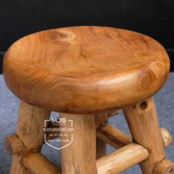 stool kayu jati antik bundar