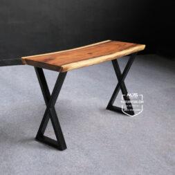 meja konsul industrial kayu solid trembesi